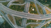 aerial view of a complicated road junction with many road markings Stok Video