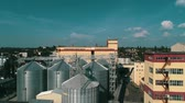 dryer : Agricultural grain dryer complex. Modern granary with weighing station Stock Footage