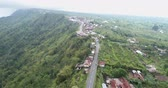 krater : Aerial shot of Batur volcano, rim road - Bali, Indonesia Stok Video