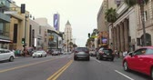 fame : Point of view shot of Hollywood boulevard. Camera moves on street - August 2017: Los Angeles. California, US