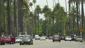 útkereszteződés : Traffic and palm trees in Beverly Hills. Beverly drive - August 2017: Los Angeles California, US