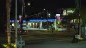 custo : Mobil, American gas station at night - August 2017: Los Angeles California, US