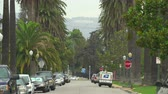 Голливуд : Los Angeles busy street scene with palm trees and Hollywood sign - August 2017: Los Angeles California, US