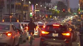 un : Los Angeles heavy traffic. Hollywood blvd. street scene at night. Walk of fame - August 2017: Los Angeles California, US