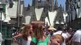 kinderen lopen : Crowded Universal Studios, Harry Potter-pretpark - Augustus 2017: Los Angeles, Californië, VS. Stockvideo