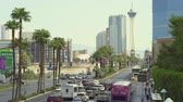 las vegas strip : Heavy traffic on Las Vegas boulevard, strip - August 2017: Las Vegas, Nevada, US Stock Footage