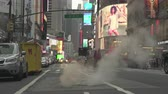 cottura a vapore : Manhattan, fumante scena di strada a Broadway. Traffico di New York City - agosto 2017: Manhattan, New York City, NY, Stati Uniti