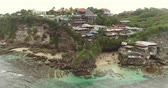 manevi : Aerial view of Bali coast, Suluban beach restaurants - October 2017: Suluban beach, Bali, Indonesia