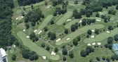 green area : Aerial view of golf course. Flight over of American golf links - Pennsylvania, USA