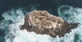 muçulmano : Aerial view of ocean cliff with sea lions - waves washing up on a rock, Pacific Ocean