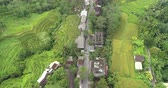 hántolatlan rizs : Aerial view of Asian village with forest and rice terrace  Tegalalang, Ubud, Bali