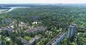 szovjet : Flight over of Pripyat ghost town. Nuclear accident  - Juni 2017: 30km Chernobyl exclusion zone, Ukraine