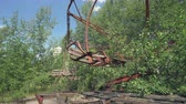 abandoned park : Abandoned amusement park, carousel in Pripyat. Chernobyl nuclear disaster 30km Chernobyl, exclusion zone