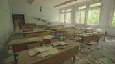 катастрофа : Classroom in an abandoned school in Pripyat. Chernobyl nuclear disaster. Slider shot - Juni 2017: 30km Chernobyl, exclusion zone