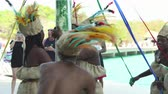 kulturní : Traditionally dressed Haitian dancers show. Caribbean native dance performance