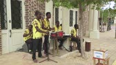 szűz : Traditionally dressed caribbean musicians, band. Jamaican street music - Jamaica