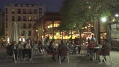 san miguel : Famous San Miguel market, mercado at night. Madrid cityscape - Spain Stock Footage