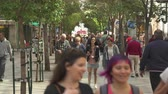 boardwalk : Pedestrians on Calle de Arenal shopping street. Busy street in central Madrid Stock Footage
