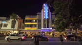 south american : Illuminated Ocean Drive in Miami Art deco district. South Beach nightlife