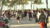parkosított : Miami beach cityscape. Crowds of students and tourists walking in the Lummus Park