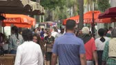 south american : Miami beach cityscape. Busy Lincoln road, shopping street - Miami, Florida Stock Footage