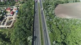 wegry : Aerial shot of European freeway. Traffic on M7 motorway - Hungary