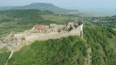 em pé : Aerial shot of European castle, fortress. Szigliget castle - Hungary, Lake Balaton Stock Footage