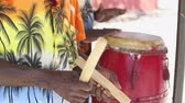 místní : Traditionally dressed caribbean musicians, band. Native musicians - Haiti