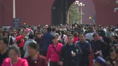 pequim : Crowd of pedestrians in Forbidden City, Beijing, China. Crowded street - March 2017: Beijing, China