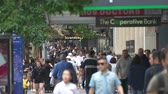 nova zelândia : Busy shopping street in Auckland downtown. Crowded street scene - March 2017: New Zealand