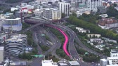 автомагистраль : Aerial view of Auckland, pink highway intersection - New Zealand