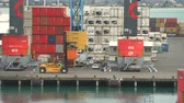freighter : Industrial port with forklift and containers - March 2017: New Zealand