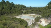 dym : Geothermal steam, hot spring area - New Zealand, Rotorua, Waiotapu Wideo
