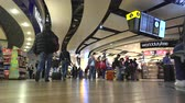 gangway : Airport terminal departures hall - Heathrow terminal, London Stock Footage