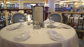 slider bar : Laid table in a luxury restaurant, Cruise ship inside - Royal Caribbean Stock Footage