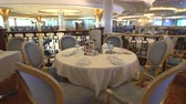 slider bar : Elegant restaurant interior. Cruise ship dining room - Royal Caribbean Stock Footage