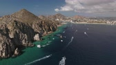 overlooking : Aerial shot of tropical bay, El Arco. Cliffs and rocks - Cabo San Lucas, Mexico