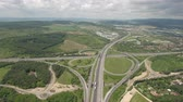 dual : Aerial view of motorway junction, freeway intersection Stock Footage