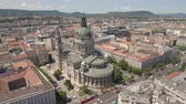 bell tower : Aerial shot of downtown Budapest - St. Stephens Basilica, Hungary