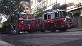usa : New York fire department fire engine with lights flashing - Manhattan