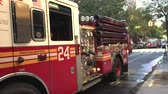 street view : New York fire department fire engine with lights flashing - Manhattan