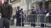 swat : New York police officers on the Wall Street - Manhattan street scene Stock Footage