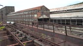 gantry : Abandoned steel factory, industrial ruin rails - Steel stacks, Bethlehem, Us Stock Footage