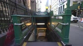 gangway : Wall Street subway station entrance on the street. Slider shot - New York, Manhattan