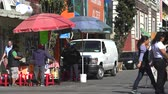atölye : Mexico City street scene. Vendor stand near the market Stok Video