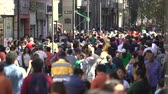 пешеход : Mexico City downtown. Crowd of people walking on the street