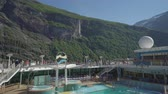 alasca : Cruise ship cruising in fjord - onboard view