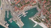 dalmatia : Aerial view of cozy mediterranean city - Croatia, Brac island Stock Footage