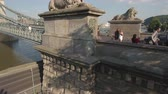 pó : Aerial view of Chain bridge and lions - Budapest, Hungary Stock Footage