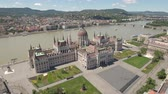 riverside : Aerial view of Budapest - Hungarian Parliament, Hungary Stock Footage